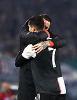 Football, Serie A: S.S. Lazio - Juventus Olympic stadium, Rome, December 7, 2019. <br /> Juventus' Cristiano Ronaldo (r) celebrates after scoring with his teammate Carlo Pinzoglio (l) during the Italian Serie A football match between S.S. Lazio and Juventus at Rome's Olympic stadium, Rome on December 7, 2019.<br /> UPDATE IMAGES PRESS/Isabella Bonotto