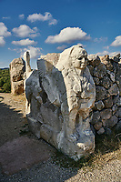 Picture & image of Hittite Sphinx sculpture of the Sphinx Gate. Hattusa (also Ḫattuša or Hattusas) late Anatolian Bronze Age capital of the Hittite Empire. Hittite archaeological site and ruins, Boğazkale, Turkey.
