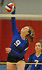 Shelter Island No. 9 Margaret Michalak attempts to spike during the Suffolk County varsity girls' volleyball Class D final against Pierson at Suffolk Community College Grant Campus on Monday, November 9, 2015. Shelter Island won 25-9, 25-4, 25-13.
