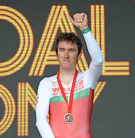Wales' Geraint Thomas on the podium after winning bronze in the men's cycling time trial<br /> <br /> Photographer Chris Vaughan/CameraSport<br /> <br /> 20th Commonwealth Games - Day 8 - Thursday 31st July 2014 - Cycling - time trial - Glasgow - UK<br /> <br /> © CameraSport - 43 Linden Ave. Countesthorpe. Leicester. England. LE8 5PG - Tel: +44 (0) 116 277 4147 - admin@camerasport.com - www.camerasport.com