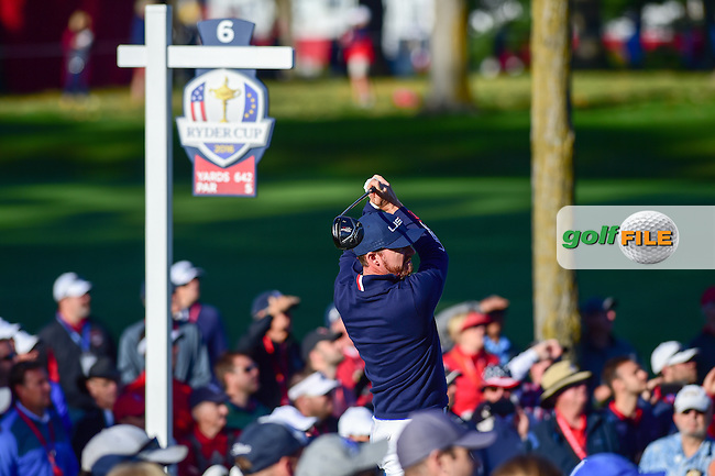 Jimmy Walker (USA) watches his tee shot on 6 during the Saturday morning foursomes at the Ryder Cup, Hazeltine National Golf Club, Chaska, Minnesota, USA.  10/1/2016<br /> Picture: Golffile | Ken Murray<br /> <br /> <br /> All photo usage must carry mandatory copyright credit (&copy; Golffile | Ken Murray)
