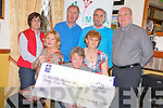 Marie Reavey, regional development officer IMNDA< pictured as she was presented with a cheque for EUR45,000 from the Kerry Friends of Motor Neurone in Darby O'Gills hotel, Killarney on Tuesday night. Pictured are Pat Carmody, Joan Gill, Mary O'Leary, Pat Kelleher, Christy Lehane and Pat Gill.