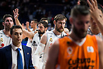 Real Madrid's players Rudy Fernandez, Sergio Llull and Andres Nocioni at the end of the first match of the Semi Finals of Liga Endesa Playoff at Barclaycard Center in Madrid. June 02. 2016. (ALTERPHOTOS/Borja B.Hojas)