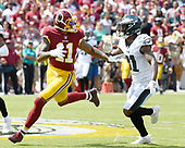 Washington Redskins wide receiver Terrelle Pryor (11) looks for a pass from Redskins quarterback Kirk Cousins (8) in the first quarter against the Philadelphia Eagles at FedEx Field in Landover, Maryland on Sunday, September 10, 2017.  Philadelphia Eagles cornerback Jalen Mills (31) is defending on the play.  The Eagles won the game 30 - 17.<br /> Credit: Ron Sachs / CNP