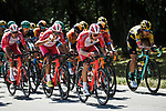 The peloton in action during Stage 2 of Criterium du Dauphine 2020, running 135km from Vienne to Col de Porte, France. 13th August 2020.<br /> Picture: ASO/Alex Broadway | Cyclefile<br /> All photos usage must carry mandatory copyright credit (© Cyclefile | ASO/Alex Broadway)