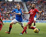 23.08.2018 Rangers v Ufa: Scott Arfield and Azamat Zaseev of Ufa