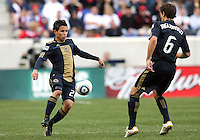 Roger Torres #20 of the Philadelphia Union passes to Stefani Miglioranzi #6 during a MLS match against the New York RedBulls on April 24 2010, at RedBulll Arena, in Harrison, New Jersey.RedBulls won 2-1.