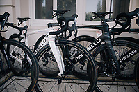 As the the stage start is only a few 100 meters away, the (team SKY) rider's bikes are stalled in the team hotel entrance; out of their rooms &amp; onto their bikes... <br /> Colombian champion Sergio Henao's (COL/SKY) bike is the odd one out<br /> <br /> 104th Tour de France 2017<br /> Stage 5 - Vittel &rsaquo; La Planche des Belles Filles (160km)