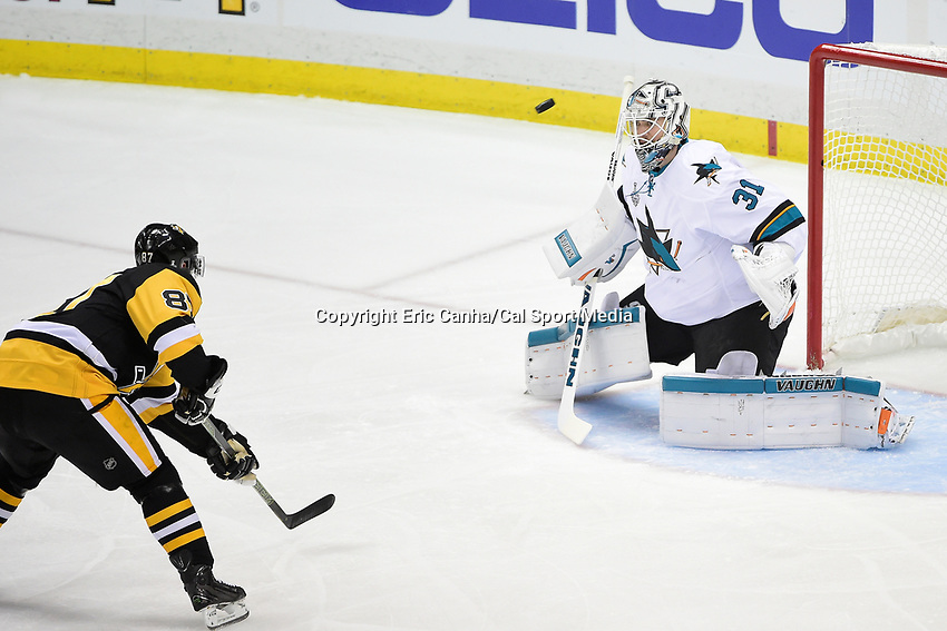 Wednesday, June 1, 2016: Pittsburgh Penguins center Sidney Crosby (87) takes a shot at San Jose Sharks goalie Martin Jones (31) during game 2 of the NHL Stanley Cup Finals  between the San Jose Sharks and the Pittsburgh Penguins held at the CONSOL Energy Center in Pittsburgh Pennsylvania. Pittsburgh beats San Jose 2-1 in overtime and leads the best of 7 series 2-0. Eric Canha/CSM