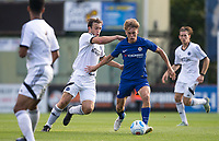 Luke McCormick of Chelsea U23 and Jake Gallagher of Aldershot Town during the pre season friendly match between Aldershot Town and Chelsea U23 at the EBB Stadium, Aldershot, England on 19 July 2017. Photo by Andy Rowland / PRiME Media Images.