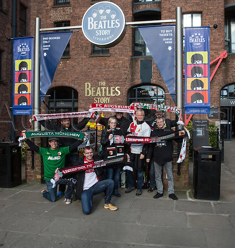 25.02.2016. Liverpool, England.  UEFA Europa League game between Liverpool FC and Augsburg.  Augsburger Fans visit the famous Beatles Museum, Albert-Docks, Liverpool  ahead of the game