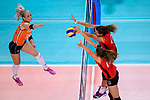 25.08.2018, …VB Arena, Bremen<br />Volleyball, LŠ&auml;nderspiel / Laenderspiel, Deutschland vs. Niederlande<br /><br />Angriff Marrit Jasper (#18 NED) - Block / Doppelblock Melanie Schšlzel / Schoelzel (#14 GER), Ivana Vanjak (#21 GER)<br /><br />  Foto &copy; nordphoto / Kurth