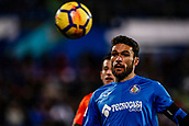 12th January 2018, Estadio Coliseum Alfonso Perez, Getafe, Spain; La Liga football, Getafe versus Malaga; Jorge Molina (Getafe CF) chases down the long ball