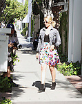 May 16th 2012 ..Dianna Agron leaving a salon in West Hollywood wearing a flower skirt jean jacket.Red blue yellow ..AbilityFilms@yahoo.com.805-427-3519.www.AbilityFilms.com.