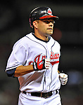 12 September 2008: Cleveland Indians' infielder Jamey Carroll in action against the Kansas City Royals at Progressive Field in Cleveland, Ohio. Carroll started at third for the Tribe going 2 for 5 as the Indians defeated the Royals 12-5 in the first game of their 4-game series...Mandatory Photo Credit: Ed Wolfstein Photo