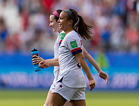 REIMS,  - JUNE 24: Mallory Pugh #2 laughs withRose Lavelle #16 during a game between NT v Spain and  at Stade Auguste Delaune on June 24, 2019 in Reims, France.