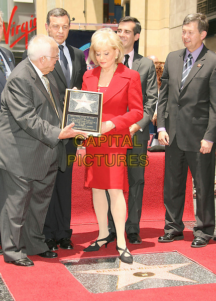 JOHNNY GRANT, BARBARA WALTERS & LERON GUBLER.Barbara Walters Star Ceremony on the Hollywood Walk of Fame, Hollywood, California, USA..June 14th, 2007.full length red jacket suit skirt black shoes straps grey gray suit pinstripe plaque .CAP/ADM/RE.©Russ Elliot/AdMedia/Capital Pictures