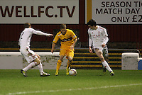 Henrik Ojamaa between Mark Reynolds (left) and Joe Shughnessy in the Motherwell v Aberdeen, Clydesdale Bank Scottish Premier League match at Fir Park, Motherwell on 26.12.12.