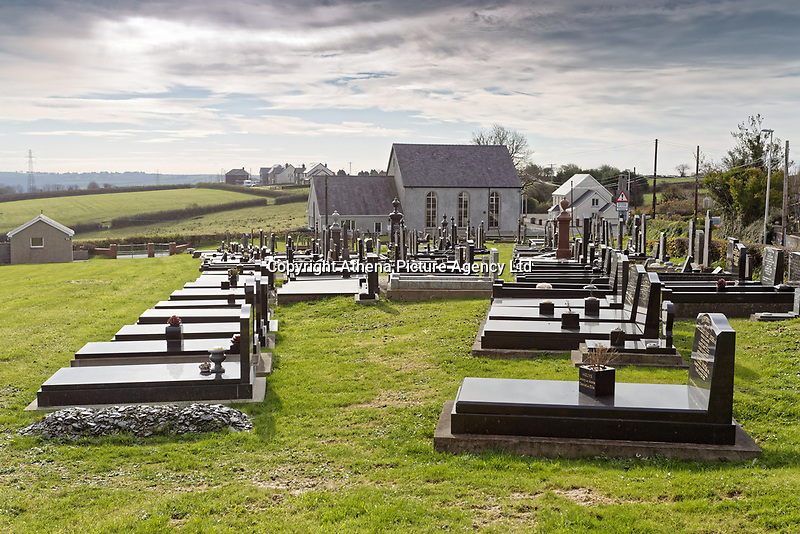 The cemetery by the chapel in Hermon in Carmarthenshire, Wales, UK. Wednesday 31 October 2018