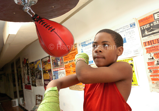 The Gazette LaMont Roach, 10, of Marlow Heights hits the speed bag during a training session at Hillcrest Heights Boxing Gym in Marlow Heights. Roach recently  won the Ringside World Boxing Championships in Kansas City, Missouri  in the 9-10 year, 75 pound division..