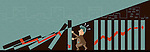 Illustration of businessman preventing blocks from falling