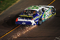 Apr 11, 2008; Avondale, AZ, USA; NASCAR Nationwide Series driver Jeff Burton after crashing during the Bashas Supermarkets 200 at the Phoenix International Raceway. Mandatory Credit: Mark J. Rebilas-