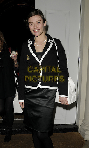 CAMILLA RUTHERFORD.The InStyle Best Beauty Buy Awards, Sketch bar & nightclub, London, England..January 27th, 2009.in style half 3/4 length black tights skirt jacket white trim gold buttons bag purse pearl necklace silk satin.CAP/CAN.©Can Nguyen/Capital Pictures.