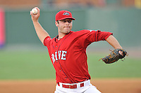 Pitcher Ben Taylor (32) of the Greenville Drive in a game against the Charleston RiverDogs on Friday, August 14, 2015, at Fluor Field at the West End in Greenville, South Carolina. Taylor was selected by the Boston Red Sox in the 7th round of the 2015 First-Year Player Draft out of the University of South Alabama. Charleston won, 6-2. (Tom Priddy/Four Seam Images)