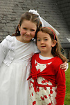 Katie Brett photographed with her cousin Helena Downes after making her First Holy Communion in Julianstown Church on Saturday.