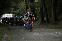 David Boucher (BEL/Pauwels sauzen - Vastgoedservice) with Mathieu van der Poel (NED/Beobank-Corendon) in his wheel<br /> <br /> Dwars door het Hageland (1.1)<br /> 1 Day Race: Aarschot &gt; Diest (194km)