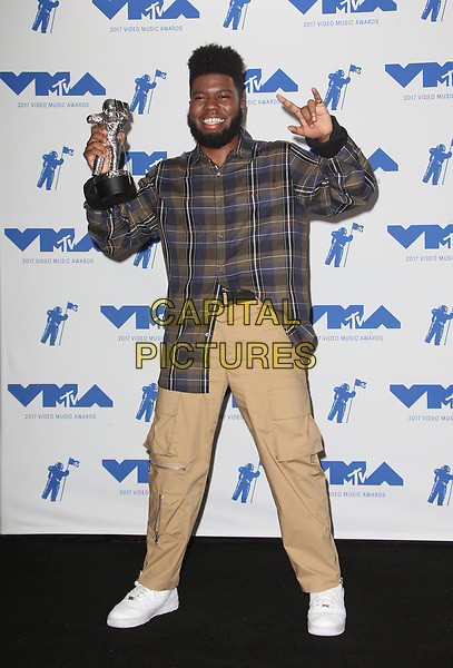 INGLEWOOD, CA - AUGUST 27: Khalid in the press room at the 2017 MTV Video Music Awards At The Forum in Inglewood, California on August 27, 2017. <br /> CAP/MPI/FS<br /> &copy;FS/MPI/Capital Pictures