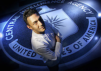 Slug: FD/CIA.Date: 04-05-2005.Photographer: Mark Finkenstaedt FTWP.Location: CIA HQ Fairfax VA.Caption:  C.I.A. Executive Chef Fred De Filippo.  Photographed in the Old Headquarters Building of the CIA Langley, Virginia on the massive CIA seal.