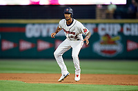 Rochester Red Wings center fielder Byron Buxton (25) leads off first base during a game against the Lehigh Valley IronPigs on June 30, 2018 at Frontier Field in Rochester, New York.  Lehigh Valley defeated Rochester 6-2.  (Mike Janes/Four Seam Images)
