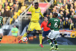 06 December 2015: Columbus's Tony Tchani (CMR) (left) and Portland's Darlington Nagbe (LIB) (right). The Columbus Crew SC hosted the Portland Timbers FC at Mapfre Stadium in Columbus, Ohio in MLS Cup 2015, Major League Soccer's championship game. Portland won the game 2-1.