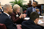 Nevada Senate Democrats Aaron Ford and Joyce Woodhouse, left, meet with a group of higher education students at the Legislative Building in Carson City, Nev., on Monday, March 2, 2015. <br /> Photo by Cathleen Allison