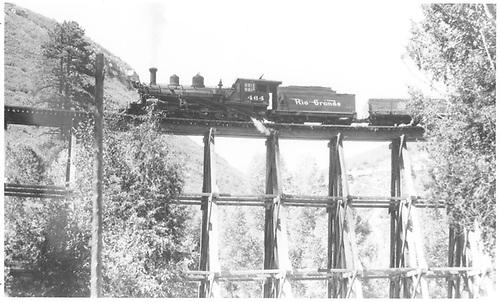 Leased D&amp;RGW #464 northbound on Lightner Creek Trestle (Franklin Junction) circa 1947-48.<br /> RGS  Franklin Junction, CO  ca 1947-1948