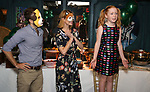 """Matt Harrington, Kate MacCluggage and Charlotte Wise attend the Birthday Party Photo Call for the Wheelhouse Theater Company production of Kurt Vonnegut's """"Happy Birthday, Wanda June""""  on October 3, 2018 at Bond 45 Times Square in New York City."""