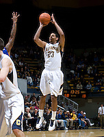 Allen Crabbe of California shoots the ball during the game against SJSU at Haas Pavilion in Berkeley, California on December 7th, 2011.   California defeated San Jose State, 81-62.