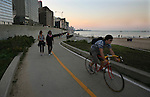A man rides his bicycle near lake Michigan in Chicago, Saturday Oct 11 2008. Americans will go to the polls on Nov 4, at a time of great Financial crisis, war in Iraq and Afghanistan, to elect a  new President. A vote, that will affect not only America, but the whole world. Photo by Eyal Warshavsky .