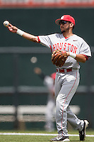 Houston Cougars second baseman Josh Vidales (80 makes a throw to first base during the NCAA Super Regional baseball game against the Texas Longhorns on June 7, 2014 at UFCU Disch–Falk Field in Austin, Texas. The Longhorns are headed to the College World Series after they defeated the Cougars 4-0 in Game 2 of the NCAA Super Regional. (Andrew Woolley/Four Seam Images)