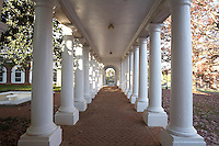 Columns and covered walkway at UVA. The University of Virginia was founded by Thomas Jefferson and is in Charlottesville Virginia.