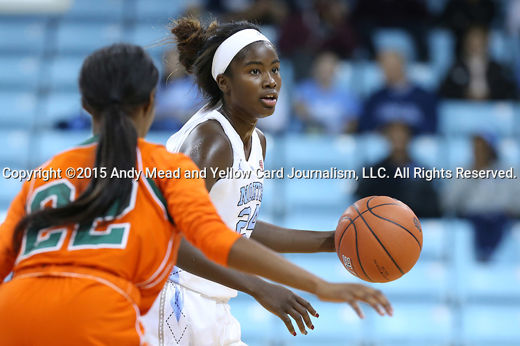 17 November 2015: North Carolina's Destinee Walker (24) and Florida A&M's London Holland (22). The University of North Carolina Tar Heels hosted the Florida A&M University Rattlers at Carmichael Arena in Chapel Hill, North Carolina in a 2015-16 NCAA Division I Women's Basketball game. UNC won the game 94-58.