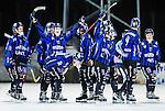 Uppsala 2015-03-10 Bandy Elitseriekval IK Sirius - Falu BS :  <br /> Sirius Adam Rudell och Ilja Grachev jublar med lagkamrater efter matchen mellan IK Sirius och Falu BS <br /> (Foto: Kenta J&ouml;nsson) Nyckelord:  Bandy Elitserien Elitseriekval Kval Kvalserien Uppsala Studenternas IP IK Sirius IKS Falun Falu BS jubel gl&auml;dje lycka glad happy