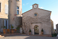 La Chapelle, the Chapel, converted to a tasting room. Chateau Villerambert-Julien near Caunes-Minervois. Minervois. Languedoc. The wine shop and tasting room. France. Europe.