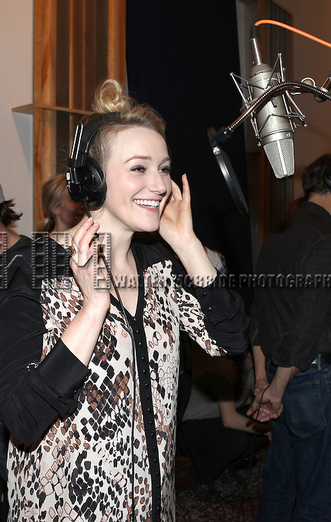 Betsy Wolfe recording the 2012 Original Broadway Cast Recording of 'The Mystery of Edwin Drood' at the KAS Music & Sound Studios in Astoria, New York on December 10, 2012
