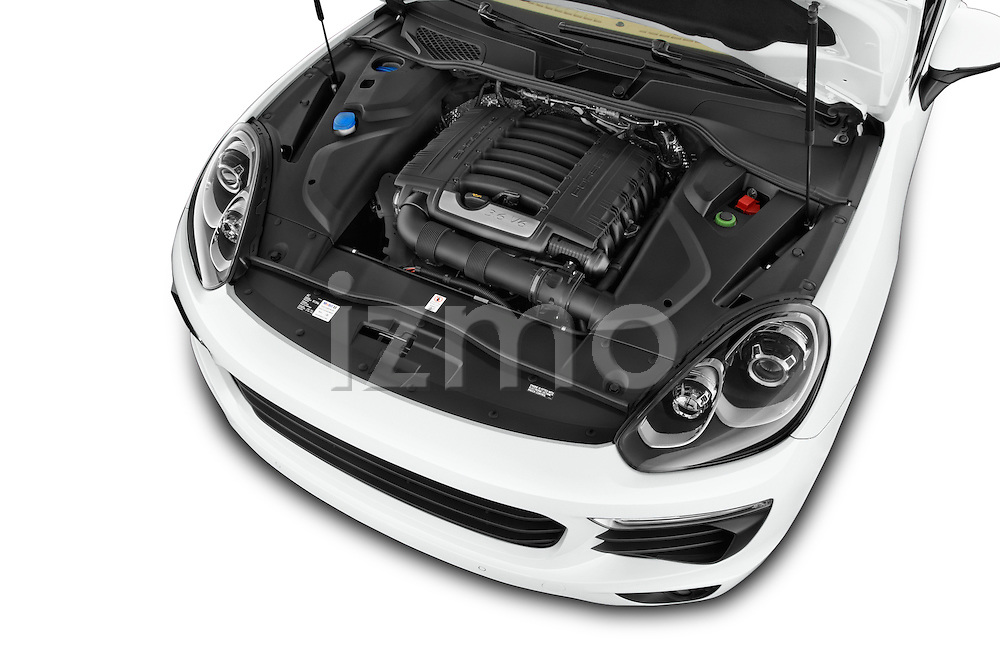 Car Stock 2017 Porsche Cayenne - 5 Door SUV Engine  high angle detail view