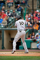 Charlotte Knights Paulo Orlando (16) bats during an International League game against the Rochester Red Wings on June 16, 2019 at Frontier Field in Rochester, New York.  Rochester defeated Charlotte 3-2 in the second game of a doubleheader.  (Mike Janes/Four Seam Images)