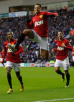 Javier Hernandez of Manchester United celebrates his goal - Barclays Premier League - Wigan Athletic v Manchester United - DW Stadium - Wigan - England - 1st January 2013 .Football Calcio 2012/2013.Premier League.Foto Insidefoto .ITALY ONLY