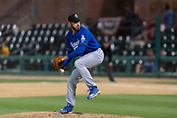 Rancho Cucamonga Quakes relief pitcher Sven Schueller (21) during a California League game against the Visalia Rawhide on April 9, 2019 in Visalia, California. Visalia defeated Rancho Cucamonga 8-5. (Zachary Lucy/Four Seam Images)