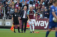 West Ham Manager David Moyes and James Collins of West Ham during West Ham United vs Everton, Premier League Football at The London Stadium on 13th May 2018